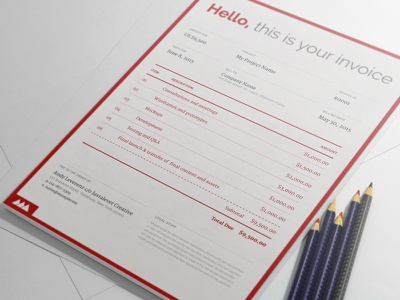 New Invoice Design red a4 stationary invoice