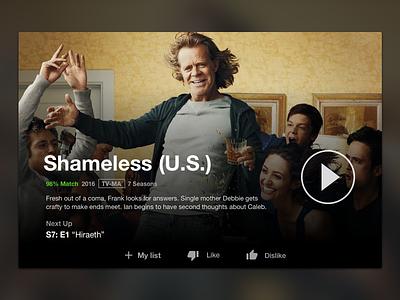 Netflix UI Concept ui video shameless dark card netflix
