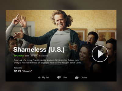 Netflix UI Concept ui video shameless dark card netflix