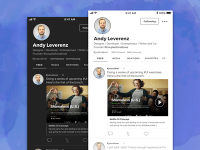 User Feed iOS Concept black and white monochromatic ux ui mobile user profile user feed twitter ios