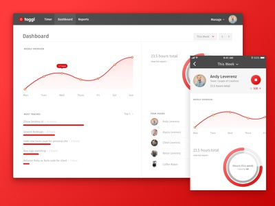 Toggl Redesign concept desktop ios red toggl redesign
