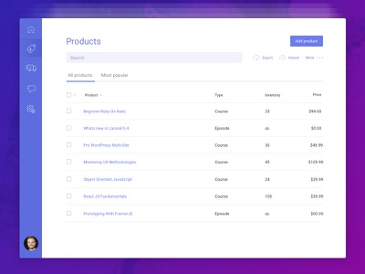 E-Commerce Product Dashboard Concept purple iconography list table dashboard course ecommerce product