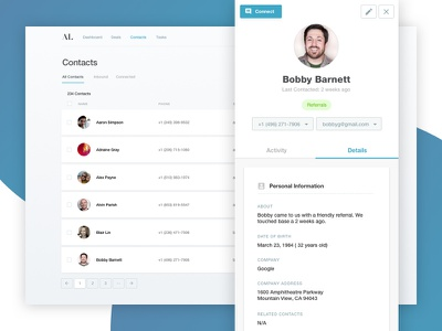 Simple CRM Concept crm helvetica minimal light cards contact contacts cool