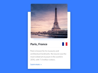 Country Card depth country card france cards ui daily ui paris card