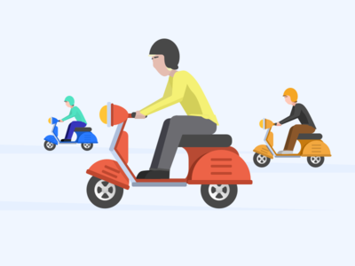 Squad group colorful fun illustration rebels bike gang moped