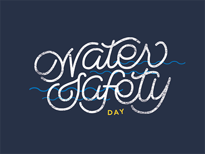 Water Safety Day texture type pool swim water safety type design illustration typography handlettering