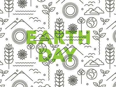 Earth Day Pattern typography green environment earth icons iconography poster design illustration vector illustration pattern