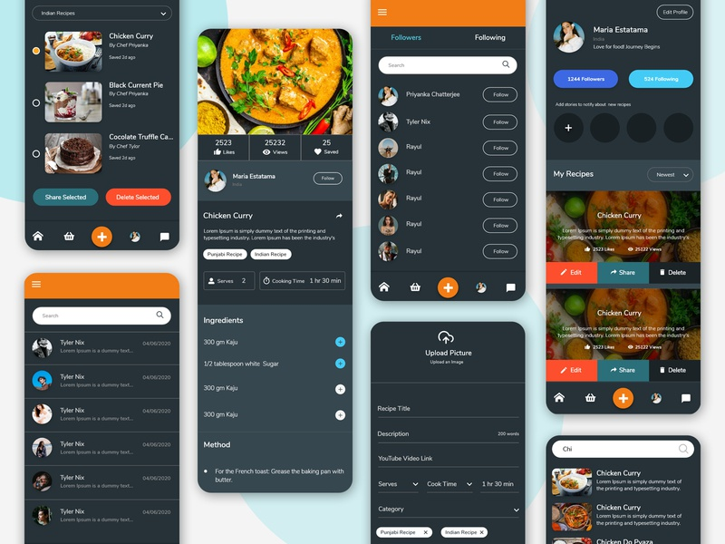 Cooking App - A social networking platform for chefs colorful figma sketch adobe illustrator recipe book recipes photoshop adobe xd design concept illustration ui design cooking class cooking
