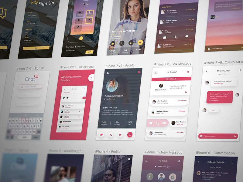 Free Chat UI Kit sketch ui design clean ui messaging app free messaging ui kit chat