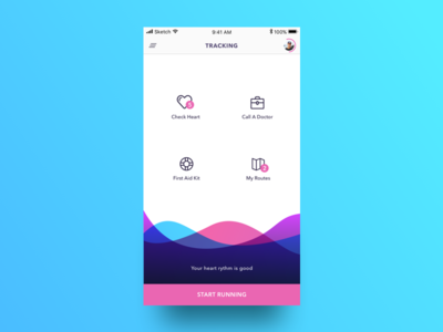 Health App UI waves colorful heart doctor medical running health