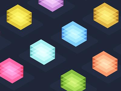 Isometric Data Boxes dark colorful 3d box cube isometric