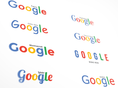 Google in Different Fonts branding kerning montserrat futura google colors typography fonts google