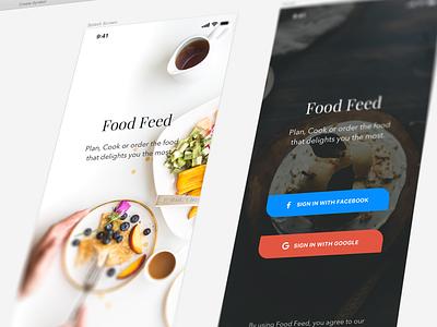 Food Feed - Login Screen iphone x restaurant plan order food cook recipe