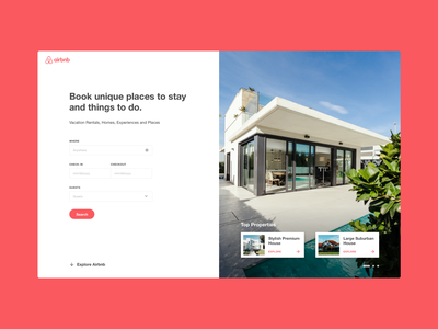 Airbnb Landing Page landing page concept properties website booking landing page airbnb