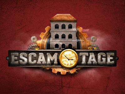 Escamotage Escape Room icon design logo 3d brand branding logo design illustrator adobe photoshop ps escamotage andre mecha escape room escape illo raster typo 3d skeumorphic illustration logo