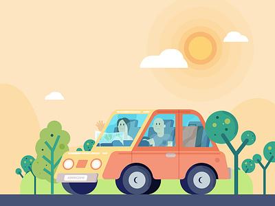 Holidays personal illustration personal random byebye holiday card 2019 trip car vectors vector adobe illustrator illustrator vector illustration illo illustration holiday