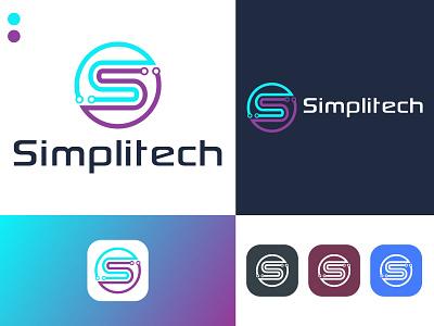 simplitech logo illustration logo design icon creative logo business logo app simplitech tech logo