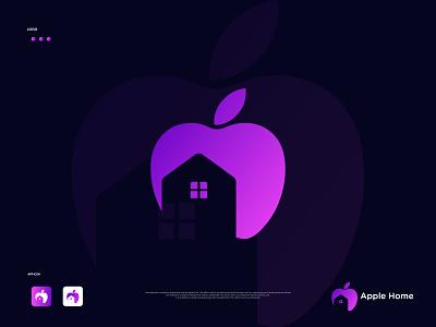 Apple Home logo brand identity logo and branding branding design apple home home logo apple logo app logo icon symbol logo minimalist logo minimal logo creative logo gradient logo flat logo modern logo