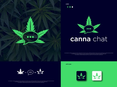 Cannabis + Chat  Modern Minimalist Logo logo and branding brand identity branding vector app icon cannabis chat logo chat logo cannabis logo design flat logo logo logo designer logo design creative logo minimal logo modern logo