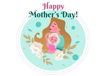 Mother's Day poster with flowers love true love moms card embrace hugs moms mother mothers day mothersday