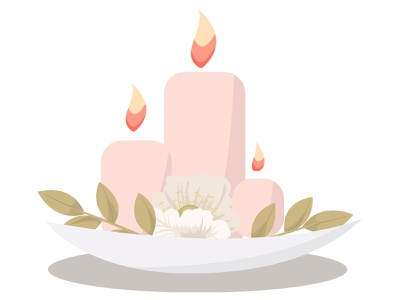 Candles with flowers romantic waxing flowers decoration decor burning light candlelight relax flame fire aromatherapy spa candles candle cartoon