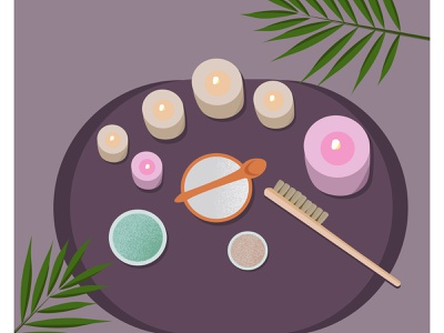Spa health spa cream salt palms palm scrubs scrub spa logo massage therapy massage candles candle beauty spa salon spa cartoon vector