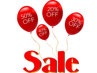 Red balloons sale discount promotion sales event sale commercial sale price tag
