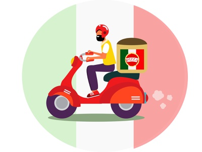 Scooter guy delivering italian pizza catering