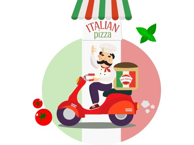 Chef on a scooter italian pizza pizza delivery man schef chef