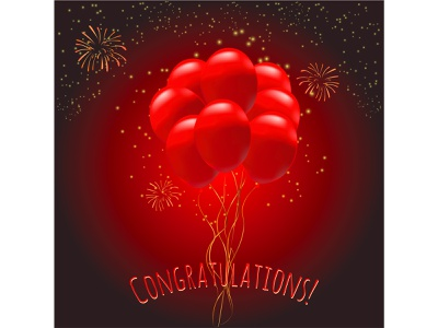 Red balloons with fireworks firework background