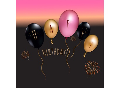 Assorted balloons with gold sequins and birthday greetings decoration