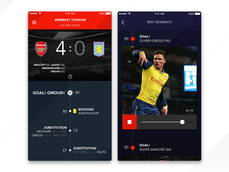 Arsenal F.C clean flat video dark arsenal score ux ui timeline football