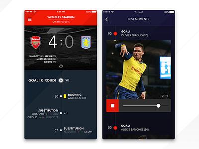 Arsenal F.C clean flat video dark arsenal score ux ui timeline football