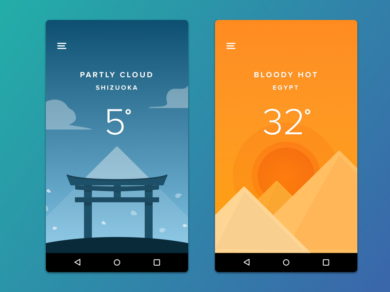 Weather App  city blue orange weather mobile gradient android app ui