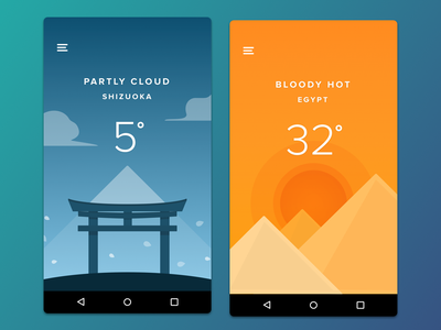 Weather App  city blue orange weather mobile gradient android app ui