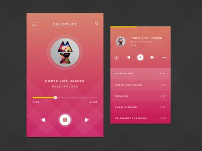 Music Player list player orange pink mobile ui app music
