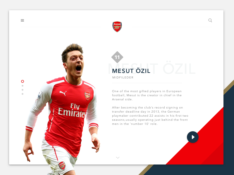 Arsenal Player Redesign desktop ui material player blue red arsenal ozil mesut football soccer