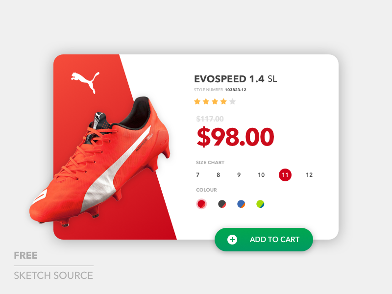 Puma Categories Card - Freebies freebies free shoes cards flat material ux ui