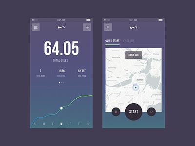 Nike+ Run Club - Redesign Concept map fitness nike run running ui mobile app