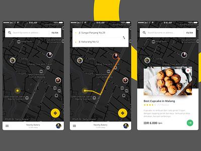 Bakery Finder App cake dark map mobile ui app bakery