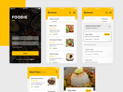 Foodie App Exploration mobile yellow app search food