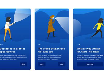 Sherlock App Onboarding mobile ui  ux ui app blue illustrations onboarding ui onboarding screen