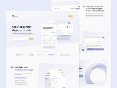 Omni Chrome Extension - Landing Page omni knowledge ui knowledge base finder file management extension edit card cards database chrome chrome extension landing