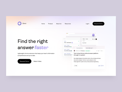 Omni Chrome Extension - Landing Page - v3 features page landing page management web knowledge base knowledge landing ui illustrations feature features chrome extension knowledge management ai uiux