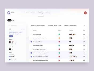 Omni Dashboard - Card Manager - v3 uiux ux chrome extension chrome management ui statistics stats status analytics members cards card list users knowledge base list table user table user list admin dashboard