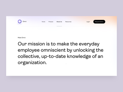 Omni - About Us - v3 about us page ai design ai tool ai knowledge management chrome extension landing chrome extension team story omni landing page knowledge knowledge base web about landing about us