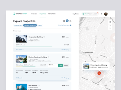 CROWDLITOKEN - Explore Properties real estate invest real estate investing cryptocurrency token invest crypto clean ui crypto real estate crypto invest real estate explore properties explore list map view map properties