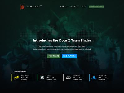 dota 2 team finder landing page by miodrag karaleji dribbble