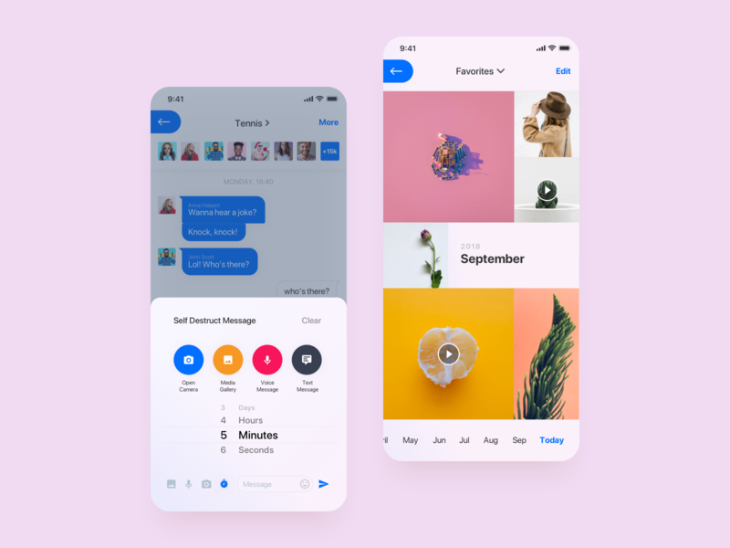 Waved App minimal clean design application app ui design layout light settings chat design ui clean