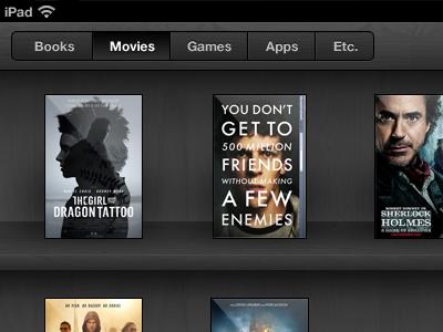 Movies ios wooden shelf ipad